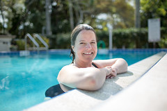 Bathing Beauty (Rudy Malmquist) Tags: portrait woman wet pool sunshine smiling swimming hair rebecca florida ann aged middle malmquist molenda