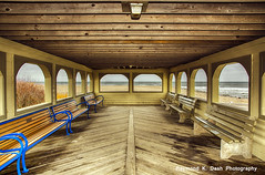 Beach Shelter (ImagesByRayD) Tags: wood winter cold color beach lines bench wooden newjersey quiet view calm shore offseason jerseyshore atlanticocean hdr southjersey 2470mm capemaybeach canon5dmarkiii raymondkdash raymondkdashphotography rkdashphotosgmailcom