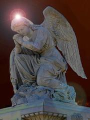 Elmwood Cemetery Praying Angel (THE Halloween Queen) Tags: cemeteries monument cemetery grave statue angel digital memorial praying tombstone flare kneeling sunspot sunflare digitallyenhanced gravestonemarker