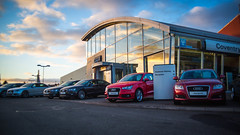 Audi Coventry Sunset (Listers Group) Tags: light sunset sky architecture clouds showroom coventry audi dealership listers