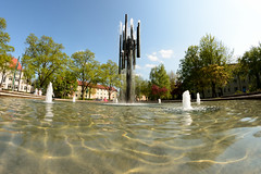 Buna Fountain in Halle/Saale (MR-Fotografie) Tags: water fountain nikon wasser day outdoor brunnen fisheye clear buna walimex objektiv sachsenanhalt fischauge d7100 bunabrunnen hallsaale mrfotografie