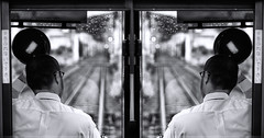 To Honor the Day (Novowyr) Tags: city people public hat japan kyoto driving traffic sony tracks tram transportation mirrored streetcar greeting traindriver carlzeiss enginedriver fromstationtostation 京都市 driverseat 嵐電 keifukuline ilce7 randenarashiyamamainline