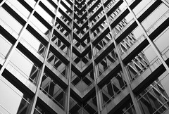 Reflective Maze (michaelelliottnyc) Tags: city nyc newyorkcity urban newyork glass steel angles