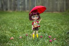 Custom #10 - Commission (Dolly Adventures in the Galland Household) Tags: cute rain childhood umbrella mushrooms spring doll teeth redhead rainy blythe freckles custom collectibles rainboots