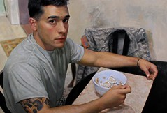 Cesar Santos — Jonathan, 2015. Painting: oil on linen, 32 x 49 in.. HyperrealismMale PortraitsContemporary Figurative Art (ArtAppreciated) Tags: man male art tattoo breakfast portraits painting soldier army contemporary military fineart cereal young camo blogs santos cesar american portraiture artists cuban figurative realism usarmy photorealism 2015 hyperrealism probing artblogs tumblr 2010s artoftheday artofdarkness date2015 artappreciated artofdarknessco artofdarknessblog