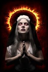 Possessed (Tortured Mind) Tags: portrait woman dark fire eyes zoom prayer creative nun horror nikkor dslr 32 ratio d800 70200mmf28