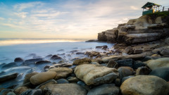 Morning mist at Seal beach (R*Pacoma) Tags: ocean longexposure morning sea seascape beach water clouds landscape seaside nikon rocks places cliffs tokina lajollacove 1116 nd1000 d7100