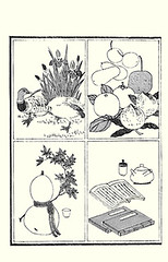 Top left  iris and mallard duck; Top right  cherry, gourd, apple, Japanese persimmon and peach (Japanese Flower and Bird Art) Tags: iris flower bird art apple japan cherry japanese book duck picture peach gourd mallard persimmon anas woodblock cucurbitaceae domestica kaki prunus iridaceae ukiyo malus rosaceae diospyros anatidae platyrhynchos asai persica ebenaceae osui readercollection