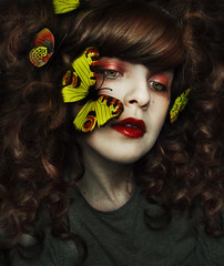 Butterfly lady (Nanihta (Sol Vzquez)) Tags: portrait woman selfportrait art girl beautiful beauty female butterfly spring chica artistic femme fineart butterflies makeup portraiture redlips brunette curlyhair artisticphotography fineartportrait artisticportrait conceptualselfportrait