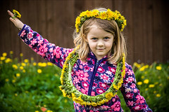 developed flower (pajus79) Tags: light shadow portrait colour girl smile look pose hair outside happy kid nikon play please little head daughter ring dandelion wreath fairy enjoy crown lovely dear darling doty aneka circlet d80 55200456