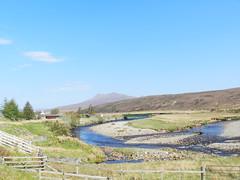 River Braan, Achnasheen, Highlands of Scotland, May 2016 (allanmaciver) Tags: bridge trees sun mountains modern fence river kyle evening highlands gate colours wind railway twist inverness braan achnasheen allanmaciver
