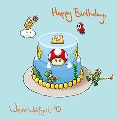 HappyBirthdayWere (Sol's House of Flapjacks) Tags: birthday blue color art mushroom cake illustration digital drawing nintendo vine mario videogames gift da sa mariobros deviantart seiko yoshi shyguy supermariobros latiku hammerbro solshouseofflapjacks werewolfgirl90