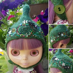 The Folklore Tonttu Helmet: Starbright (Euro_Trash) Tags: green wool felted stars embroidery helmet knit website embellishment com swirls eurotrash tonttuhelmet handmadeforneoblythe