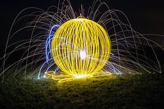 Yorb and steelwool. (Nikolas Fotos) Tags: longexposure lightpainting orb sphere sparks lichtmalerei lightart steelwool longexposurephotography llightpainting lightpaintingphotography stellwool peintureclaire
