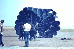 5-4-1968- Perris Valley CA (3) (foundslides) Tags: perrisca skydiving parachute parachuting perris irmalouiserudd johnhrudd photos photography desert 1968 1960s agfachrome agfa slide slidefilm foundslides outdoor sport perrisairport daredevils airplane retro vintage analog slidecollection irmarudd