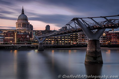 Millennium to St Paul's (Richee Wilson) Tags: longexposure bridge london water thames river cityscape millenniumbridge bluehour stpaulscathedral riverthames