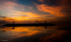 Bale Bengong at Sanur (Bali) (Lucy Burtin) Tags: sunset sky bali cloud seascape beach sunrise landscape seaside outdoor dusk shore