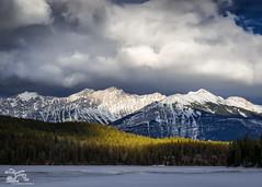 Light on the Lake (Thousands of Jackdaws) Tags: canada alberta jasper pyramidlake light mountains snow lake frozen