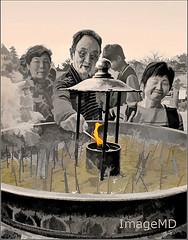 Buddhist Flame (ImageMD) Tags: japan temple buddhist smoke flame nara incense topaz oligochrome
