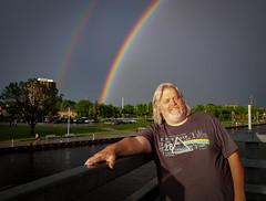Triple rainbow (MontysPhotos) Tags: city bridge people rainbow flickr place band location pinkfloyd foxriver oshkosh facebook instagram