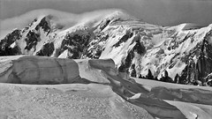 Mont Blanc / Monte Bianco (4,809 m), the highest mountain in Europe, in morning light. From Helbronner (3,462 m), 1980-03-19. (heikki.nylund) Tags: morning montblanc montebianco helbronner
