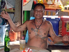 covered in protective and good luck tattoos (the foreign photographer - ) Tags: man beer portraits thailand nikon good bangkok drinking tattoos luck lard protective bang seated bua tattooed khlong bangkhen d3200 phrao