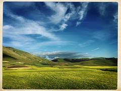 Castelluccio tableland (1400 m, Umbria, Italy) II (michaela.meerkatz) Tags: italy yellow view fields altopiano umbria lentils piana castelluccio tableland fioritura hipstamatic vastity