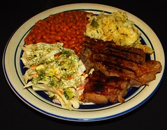 Char Broiled Bison Rib Eye Steak (ezigarlick) Tags: charbroiled bison ribeye steak bakedbeans coleslaw rotini pasta food homecooking