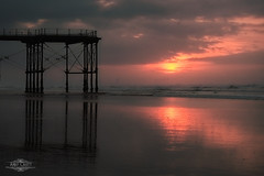 Saltburn (AndyCrutt) Tags: uk sunset shadow sea summer england sky sun seascape abstract color colour art clouds pier seaside surfing fujifilm saltburn xt10 andycrutt