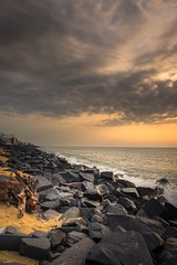 Dawn by the beach (rameshsar) Tags: 1655 pondicherry xt1 beach sunrise dawn clouds rocks nature landscape waves fuji