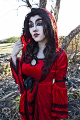 Through the Woods 7457 (JoDi War) Tags: trees sunset red wild nature grass fairytale dark lost blood woods wolf dress boots lace gothic victorian velvet hood storybook rhyme grandmothershouse nurseryrhyme throughthewoods storytale