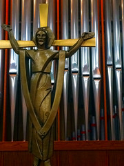 Christ and pipes (byzantiumbooks) Tags: crucifix pipeorgan christ