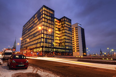 Winter at The Waterfront III (Henrik Sundholm.) Tags: street city windows winter snow building cars architecture clouds landscape office exterior waterfront traffic sweden stockholm dusk tracks toyota lighttrails sverige lamps van hdr norrmalm whitearkitekter klarabergsviadukten mtx702