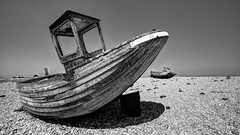 Nautical Rest Home - Explored (Sean Batten) Tags: england sky blackandwhite bw beach boat kent nikon unitedkingdom decay pebbles dungeness d800 1424 shepwaydistrict