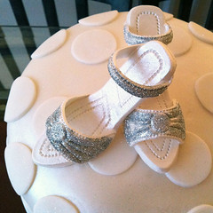 Birthday cake with shoe topper by Mandalina Bakery in Farnborough
