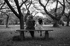 a walk in the park (hugo benichi) Tags: park blackandwhite bw girl japan bench mom tokyo daughter mother mama  6d 40mmf28 ef40mmf28stm