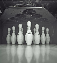 Pins (Joseph Ascioti) Tags: abstract 6x6 film alley pins mat bowling hp5 medium format ilford yashica 120mm emulsion celluoid
