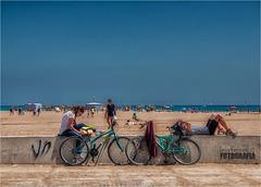 A la platja en bici (Leo Ferrer) Tags: sun sol beach bicycle bicicleta playa 28300mm platja malvarrosa valncia nikond90 leoferrer amicsdelacmera afsueca afcastell