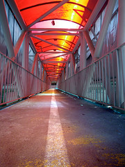 Converging All (Kombizz) Tags: life all loneliness iran fear hell perspective tunnel tehran beams pedestrianbridge pedestrain converging whiteband yellowpatches 1391 9415 kombizz convergingall redplasticceiling