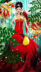 Introducing Queen of the Amazon (possiblezen) Tags: bird rose forest scarlet amazon doll paradise barbie parrot macaw limited edition exclusive