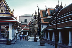 Giant figures, Wat Phra Keo temple, Bangkok (1982) (Duncan+Gladys) Tags: thailand bangkok enhanced th