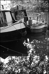Narrowboats (emmajanefalconer) Tags: london water monochrome canal eastlondon