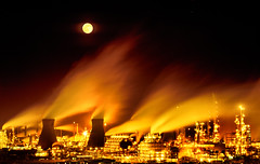 Fire_Wind (teuchter10) Tags: orange moon night fire shot flames windy medium format davidson refinery greig stacs abigfave