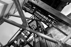 Tower Stairs (gherringer) Tags: winter blackandwhite bw canada outdoors bc victoria vancouverisland colwood forttoddhillhistoricsite