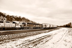 More old school vibes from the sepia filter (JayCass84) Tags: camera winter urban snow beautiful sepia train photography photo nikon flickr industrial pittsburgh pennsylvania awesome traintracks trains filter flick pgh urbanphotography 412 burgh steelcity industrialyard vsco d5100 instagram instagramapp nikond5100 vscocam vscocamapp
