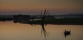 Taungthaman Lake after sunset