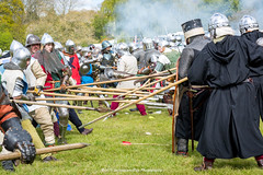 [2014-04-19@15.03.21a] (Untempered Eye) Tags: history costume fight smoke helmet battle medieval weapon knight shield combat armour reenactment skirmish combatant chainmail spear canonef50mmf14 perioddress polearm buckler platearmour gambeson poleweapon mailarmour untemperedeye canoneos5dmkiii untemperedeyephotography glastonburymedievalfayre2014