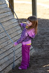 Climbing Fun (Vegan Butterfly) Tags: park wood playing cute girl kids children fun outside outdoors climb wooden edmonton play walk candid adorable chain climbing