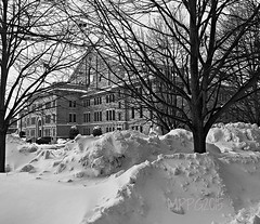 Hartford Armory (newenglandgal) Tags: trees bw snow building blackwhite branches ct flags granite armory hartford iphone barebranches