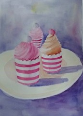 CUPCAKES IN PINK STRIPES (BonnieBuchananKingry) Tags: pink cakes dessert cupcakes stripes paintings plate